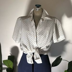Vintage blue polka dot top - s/m